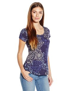 Lucky Brand Women's Printed Patchwork Tee, Blue/Multi, Large- #fashion #T-shirt find more at lowpricebooks.co - #fashion