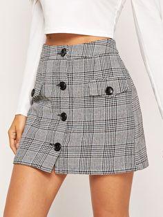 Button Up Flap Pocket Plaid Skirt -SheIn(Sheinside) Plaid skirt outfits ideas what to wear plaid skirts Cute Skirts, Plaid Skirts, Denim Skirt, Mini Skirts, Work Skirts, Fall Skirts, Casual Outfits, Cute Outfits, Fashion Outfits