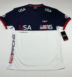 Polo Ralph Lauren Men 2016 Team USA American Flag Racing Jersey T-Shirt Tee M #PoloSport #JerseyTShirt