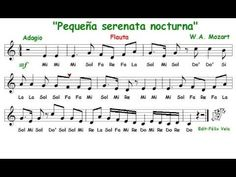 Pequeña serenata nocturna, W. A. Mozart (Flauta con notas) - YouTube Teaching Music, Karaoke, Musicals, Sheet Music, Play, Words, Youtube, Music Ed, Song Notes