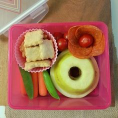 #paleo #Bento for the Kidlets: @sunbutter & apple sandwiches, veggies, @agirlworthsaving's #grainfree crackers, and nitrate/nitrite free pepperoni.  Using a Target #lunchbox (from their #Valentine section!). #iheartlunch