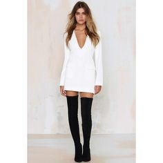 Nasty Gal Abbey Road Dress (81 CAD) via Polyvore featuring dresses, very j, white zipper dress, zipper dress, white v neck dress and plunging v neck dress