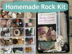 Homemade Rock Kit- Today I would like to share with you some ways to create your own homemade rock kit. Yes, you can buy all types of rock kits, mineral kits, classroom sets, and even rock hound backpack's but most of those are quite expensive. Since these pre-made kits aren't in a #frugal homeschool budget I wanted to give you ideas of what we have done. #geology
