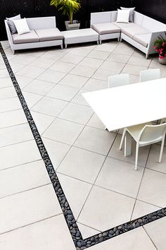This modern patio slab is intended for commercial and municipal pedestrian use. Give a contemporary appearance with the Industria Smooth slab. Concrete Patio Designs, Backyard Pool Designs, Backyard Garden Design, Backyard Landscaping, Concrete Paver Patio, Concrete Slab, Garden Slabs, Patio Slabs, Garden Paving