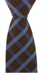 Brown with Blue checks Microfibre Tie & Woven Poly