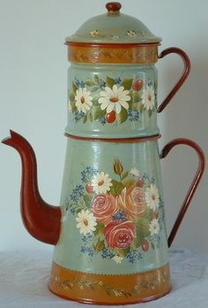 Blog de serena :Serena - Peinture décorative, Cafetière ancienne peinte