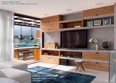 wood + concrete shelves