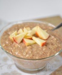 """Creamy Maple and """"Brown Sugar"""" Oatmeal...it's THM:E, low fat, sugar free, and gluten/nut free."""