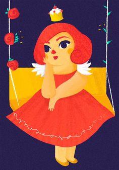"""Ilustración I para el texto """"La Princesa Cristina"""" de Marco Antonio García León que aparece en el nuevo número de Horchata Magazine   Illustration by Fabiola Correas #gordibuena #princess #cupcake #sweet"""