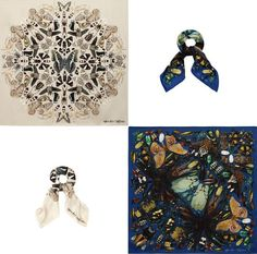 The artist has played with the brand's iconic skull motif and reworked it to create his own very much covetable patterns for the Alexander McQueen Damien Hirst Scarf Collaboration. Damien Hirst, Scarf Design, Fashion Art, Collaboration, Alexander Mcqueen, Skull, Butterfly, Colours, Pattern