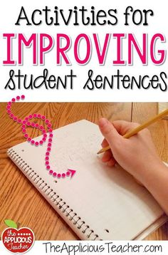 and Ideas for Improving Student Sentences Activity ideas for helping students write better sentences. Seriously, my kids NEED this!Activity ideas for helping students write better sentences. Seriously, my kids NEED this! Writing Lessons, Teaching Writing, Writing Skills, Writing Ideas, Teaching Ideas, Writing Process, Writing Resources, Teaching Strategies, Teaching Tools