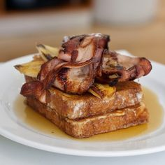 French Toast of Brioche, with Caramelised Banana, Crispy Bacon and Maple Syrup @ Lumiere Cafe & Patisserie
