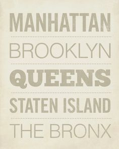 '5 Boroughs' of New York City / Wood Block Print by LuciusArt