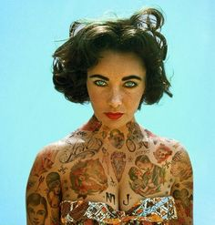 Elizabeth Taylor | This Is What It Would Look Like If Your Favorite Celebrities Were Covered In Badass Tattoos