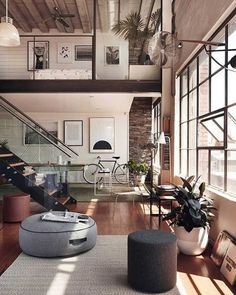 Loft living at its finest – the ultimate bachelor pad.  #City #Architecture…