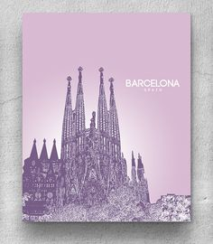 Home Decor Art Poster /Barcelona Spain Skyline Art Poster / Any City or Landmark    Custom requests for cities are always welcome!    COLORS