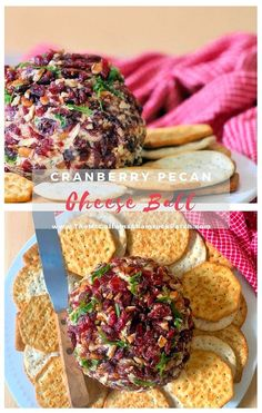 Cranberry Pecan Cheese Balls are a favored crowd-pleasing appetizer to share at your holiday gathering with your family and friends. This holiday Cranberry Pecan Cheese Ball is made from deliciously sharp white cheddar cheese, Georgia pecans, cream cheese, jalapeno peppers, and green onions and served with various crackers.