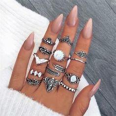 Statement anillos Knuckle señora joyas oros las puntas de los dedos clavo vintage set