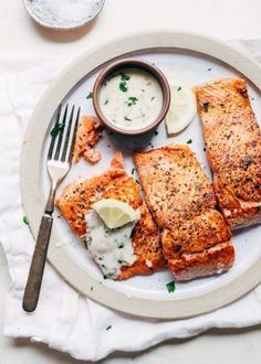 Perfect Pan-Seared Salmon with 4 Ingredient Lemon Butter Cream Sauce (Little Spice Jar) Butter Cream Sauce, Cream Sauce Recipes, Lemon Butter Sauce, Herb Butter, Garlic Butter, Pan Seared Salmon, Baked Salmon, Roasted Salmon, Butter Chicken