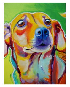 Art Ed Central loves this Colorful Pet Portrait Pop Art Dog Print 8x10 by by dawgpainter, $14.00