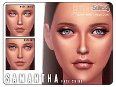 The Sims Resource: Samantha � Face Shine by Screaming Mustard � Sims 4 Downloads