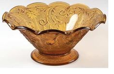 """Indiana Amber Tiara """"10 Console Bowl - Pretty - Gift from my Mother-n-Luv, this was hers! The picture does not show how beautiful this dark amber is and the lovely design."""