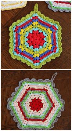 Very Pretty Vintage Crochet Kitchen Potholder, Dishcloth, Hot Pad! Free Pattern too~ Crochet Potholder Patterns, Crochet Motifs, Crochet Dishcloths, Crochet Squares, Knitting Patterns, Granny Squares, Knitting Tutorials, Crochet Granny, Loom Knitting
