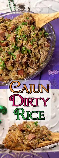 Cajun Dirty Rice Recipe, Cajun Rice, New Orleans Dirty Rice Recipe, Creole Recipes, Cajun Recipes, Cooking Recipes, Mexican Recipes, Seafood Recipes, Beef Recipes