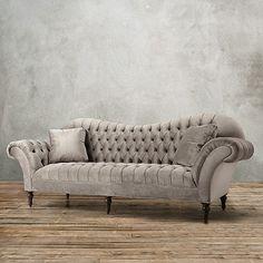 "SOFA IDEA | Club Petite 96"" Tufted Upholstered Sofa in Arabella Ash - Arhaus Furniture | bocadolobo.com/ #modernsofa #sofaideas"