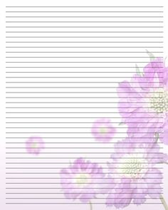 Beautiful Lined, Purple Flowers, Stationary  Lined Stationary Template