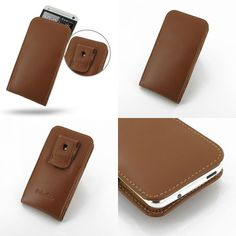 PDair Leather Case for The New HTC One 801e 801s - Vertical Pouch Type Belt Clip Included (Brown)