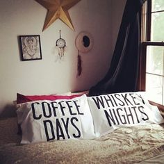 & Whiskey Pillow Case Set is probably one of the coolest gift ideas for the partyholics in town.Coffee & Whiskey Pillow Case Set is probably one of the coolest gift ideas for the partyholics in town. Cool Gifts, Best Gifts, Awesome Gifts, Coffee Lover Gifts, Coffee Lovers, Pillow Set, Whiskey, Bed Pillows, Bedroom Decor