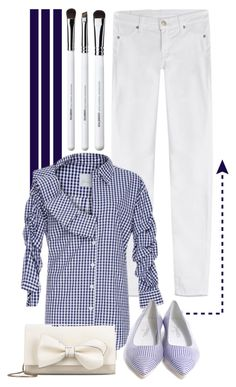 """""""Navy + White"""" by cherieaustin ❤ liked on Polyvore featuring Obsessive Compulsive Cosmetics, 7 For All Mankind, Johanna Ortiz, Chanel and RED Valentino"""