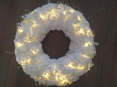 Kerstkrans van watteschijfjes