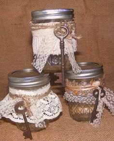 "Marley's Magical Gypsy Bubbles are created by one of the youngest members of our Nest.....seven year old Marley Jean Sayers! The pint-sized Mason Jar is filled with bubble liquid and decorated with bits and pieces of vintage lace and ribbon. The antique skeleton key is the wand and creates ""magical"" bubbles! Available on our web site with free shipping! Easy Christmas Presents, Simple Christmas, Gift Jars, Jar Gifts, Key Crafts, Bubble Wands, Old Keys, Skeleton Keys, Mason Jar Wine Glass"