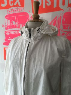 MULBERRY LOVELY WHITE LIGHTWEIGHT COTTON SUMMER ZIP UP JACKET, CONCEALED HOOD-10 #Mulberry #Hoodedjacket