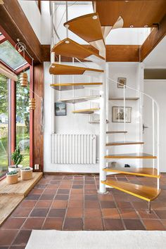 architect-designed modernist property in sweden - spiral staircase tiled floor Narrow Staircase, Spiral Staircase, Staircase Design, Big Design, House Design, Traditional Staircase, Lodge Decor, House Stairs, Stairways