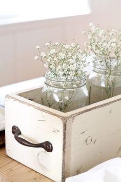 DIY Farmhouse Style Decor Ideas - Weathered White Mason Jar Decor - Rustic Ideas for Furniture, Paint Colors, Farm House Decoration for Living Room, Kitchen and Bedroom http://diyjoy.com/diy-farmhouse-decor-ideas