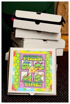 Pizza Favor Boxes from a Ninja Turtles Graffiti Party via Kara's Party Ideas   The Place for ALL Things Party! KarasPartyIdeas.com (14)