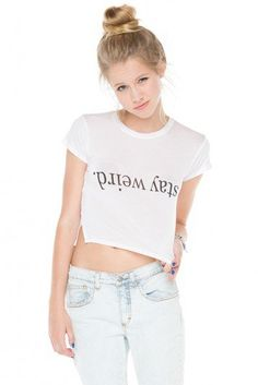 Brandy ♥ Melville |  Carolina Stay Weird Top - Clothing