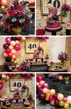 Modern and Classic Marsala Birthday Adult Birthday Party, 40th Birthday Parties, Birthday Party Decorations, Birthday Ideas, Pink And Blue Ribbon, Pink And White Flowers, Blue Icing, Pink Frosting, Tall Gold Vases