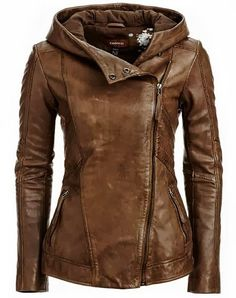 Stylish Hooded Long Sleeve Solid Color Jackets - Look Fashion Leather Jacket With Hood, Brown Jacket, Leather Hoodie, Leather Blazer, Hooded Leather Jacket, Brown Blazer, Ladies Brown Leather Jacket, Womens Leather Coats, Leather Jacket Styles