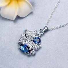 Show details for Necklaces Women Classic Flower Silver Plated Copper Rhinestone 18 inches Chain Pendant