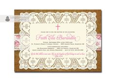 Lace Burlap Baptism Invitation Rose Pink Cross Doily Floral Christening Invite Baby Girl Christian DIY Digital or Printed - Faith Collection on Etsy, $23.04 AUD