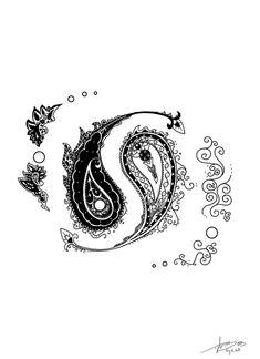 Ying Yang Paisley Tattoo | Paisley Yin Yang by MBeGG