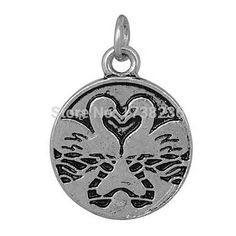 A Lot Wholesale Antique Silver Alloy Mandarin Duck Charm Cute Jewelry Making Charm
