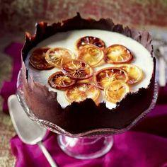 Lemon souffle in chocolate shell