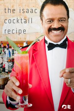 """""""Love, exciting and new """"Come aboard, we're expecting you!"""" Learn how to make """"The Isaac"""" cocktail from Ted Lange, known for his role as Isaac the bartender on the The Love Boat. Cocktails, Party Drinks, Cocktail Drinks, Fun Drinks, Cocktail Recipes, Alcoholic Drinks, Beverages, Drink Recipes, Beverage Drink"""