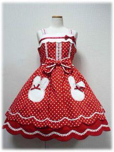 Angelic Pretty Bunny Pockets JSK (red)