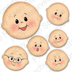 PK-530 Simple Simons Face Assortment: Peachy Keen Stamps   Home of the original clear, peach-tinted, high-quality whimsical face stamps.